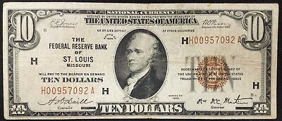 1929 $10.00 National Currency, The Federal Reserve Bank, St. Louis, Missouri!