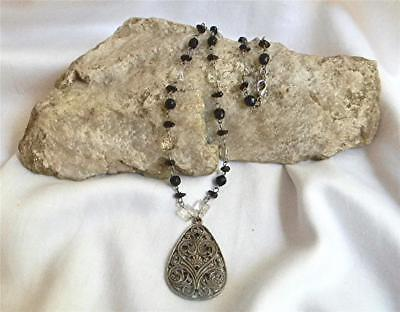 "Very Pretty Vintage 18"" Beaded Chain Ornate Antiqued Silvertone Pendant Necklace"