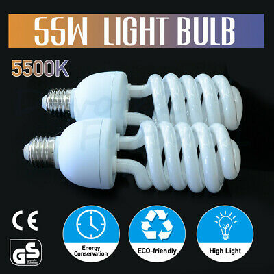 2X55W Photo Studio Light Daylight Lamp Bulb Continuous Lighting E27 220V 5500K