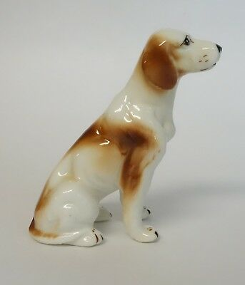Vintage Pointer Dog Figurine Porcelain Animal Red White Sitting