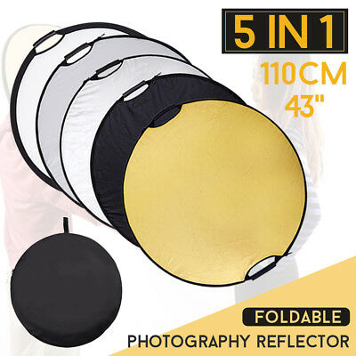 """Portable 43""""/110cm 5in1 Photo Collapsible Multi Light Reflector Handle Held GRIP"""