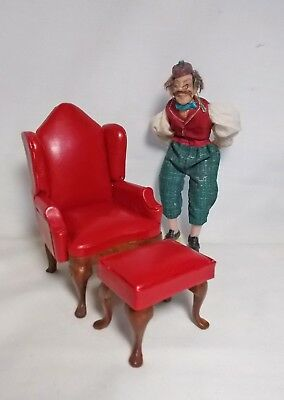 "Dolls House Miniature 12th (1"") Scale Red Leather style Queen Anne Chair & Stool"