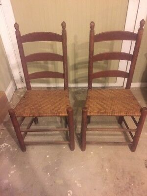 2 Vintage Ladder Back Chairs With Wicker Seats