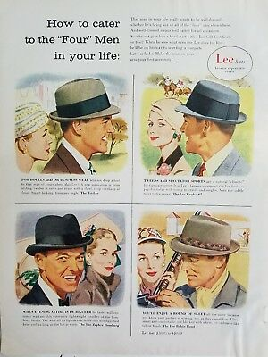 1956 Lee men's hats how to cater four men in your life vintage ad
