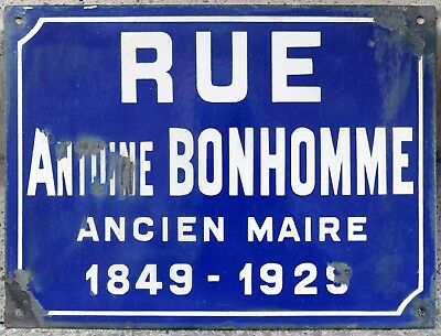 Old French street road sign plaque plate enamel rue Antoine  Bonhomme Loire 1930