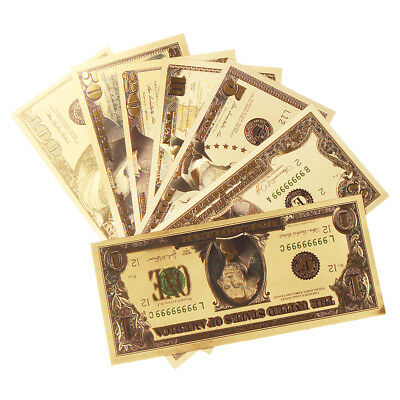 1 set USD Dollar Gold Foil Golden Paper Money Currency Banknote Craft Collection