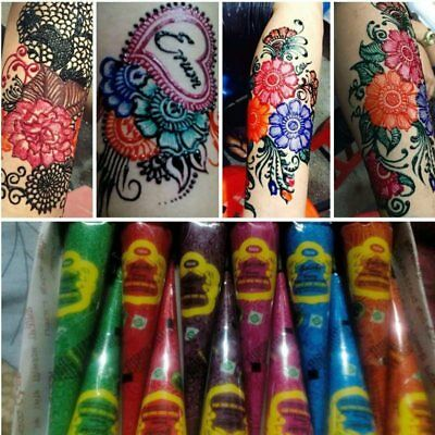 Natural Herbal Temporary Tattoo Kit Henna Mehandi Cones Bodyart Paint Paste WR56