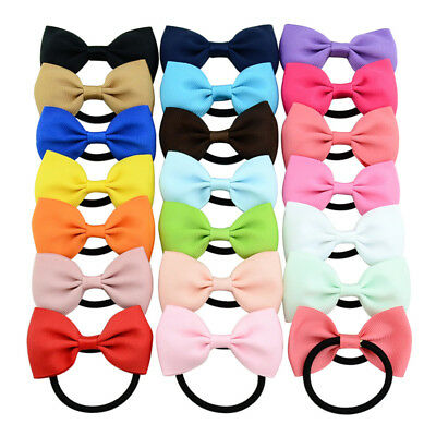 20Pcs Girls KIds Ribbon Handmade Pony Tail Band Hair Bows With Elastic Bobbles