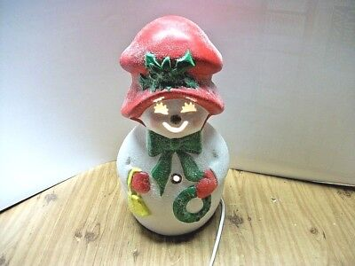 """Vintage Table Top Christmas 13"""" Ceramic Light-up Frosty Snowman"""