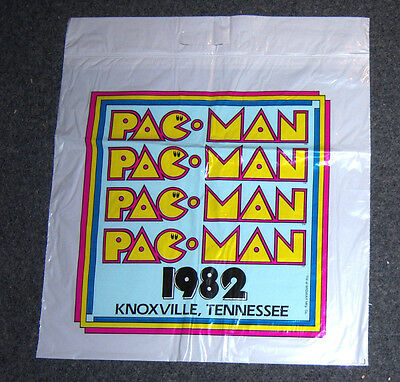 1982 PAC MAN Knoxville Tennessee World's Fair Souvenir Plastic Bag Unused