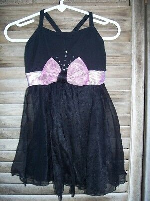 BUTTERFLY black skirted leotard~size XS~ballet~dance~pink bow~