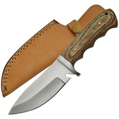 Unbranded 203359-WD Brown Pakkawood Handle Hunter Fixed Blade Knife Drop Point