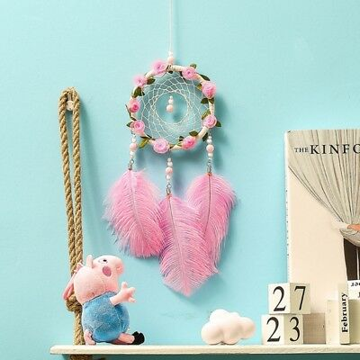 Handmade Dream Catcher With Wreath Feathers Wall Hanging Ornament Home Decor