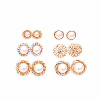 6 pairs Vintage Golden Crystal Simulated Pearl Hollow Stud Earrings Jewelry LG