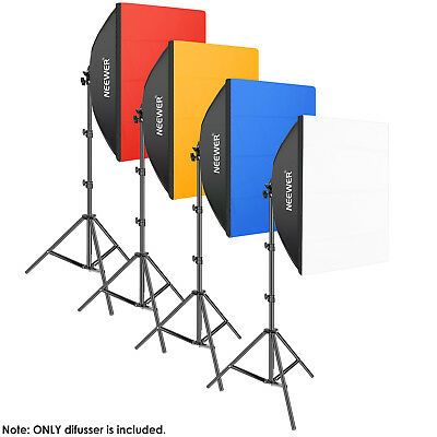 "Neewer Photography Softbox Diffuser 25x25"" with 4 Color Red Yellow Blue White"