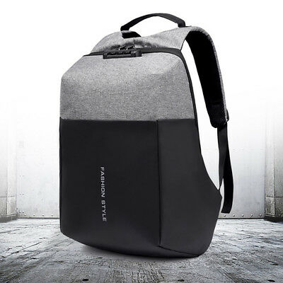 Men Anti-theft Lock Waterproof Backpack Laptop School Bag USB Charging Port