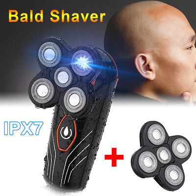 Electric Floating 5 Shaver Bald Razor Trimmer & Replacement Shaver Head Comb Set