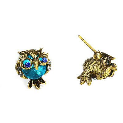 Fashion Owl Cute Crystal Stud Stud Girls For Women Earrings Blue-Color Jewelry