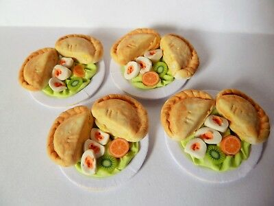 "Dolls House Miniature Food 4 X Pasty Salad On 1"" Cardboard Plates Combined P+P"