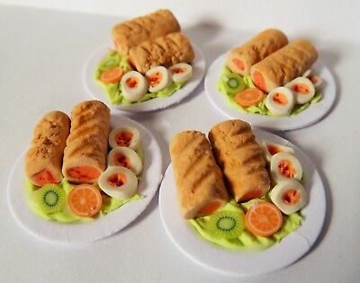 "Dolls House Miniature 4 X Sausage Roll Salad On 1"" Cardboard Plates Combined P+P"