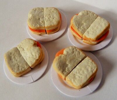 "Dolls House Miniature 4 X Ham Sandwiches On 1"" Cardboard Plates Combined P+P"