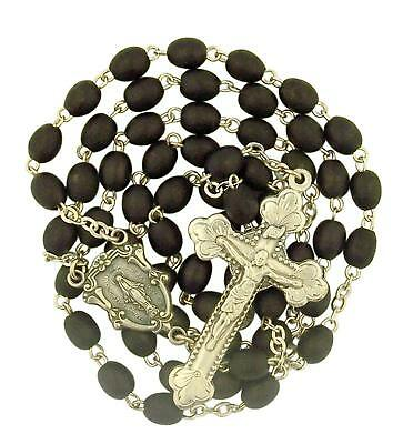 Black Wood Prayer Bead Miraculous Medal Rosary for Catholic Men, 19 Inch