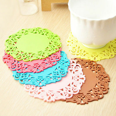 Lace Drinks Heat Cushion Mat Placemat Holder Coaster Silicone Cup Tableware Pad
