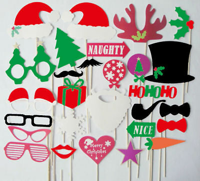 28pcs Props Photo House Mustache Funny DIY Party Christmas Booth Photograph Mask