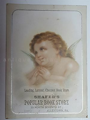 1880s antique SHAFER'S BOOK STORE victorian ADVERTISING CARD allentown pa ANGEL