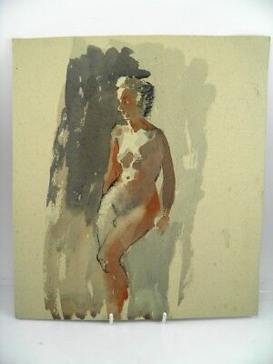 Early 20th century English School watercolour painting portrait of a nude lady