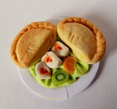 "Dolls House Miniature Cornish Pasty Salad On 1"" Cardboard Plate Combined P+P"