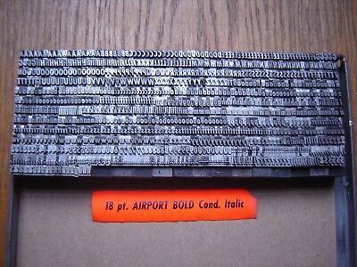 """Letterpress Metal Type  """" Airport Bold Condensed Italic """"  18 Point"""