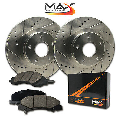 1997 1998 Honda Civic EX Sdn Slotted Drilled Rotor w/Ceramic Pads F
