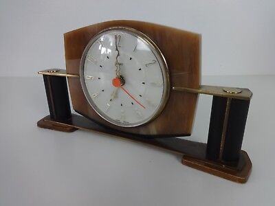 Vintage Metamec Clock Art Deco Style Mantle Battery Operated Brown Gold Black