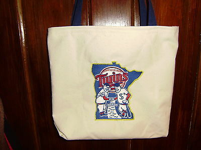 Free Personalizing NEW custom made machine embroidered Minn Twins tote COOL!