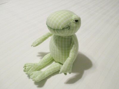 "8"" Baby Gap Green & White Check Frog Baby Plush Toy EUC"