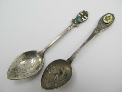 Bm Co & Other Winnepeg Canada 2 Enamel Top Sterling Collector Spoons Xlnt Cond