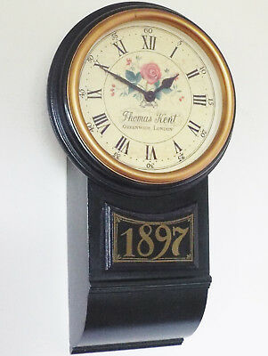 Lovely Thomas Kent Wall Clock Dark Green Wooden Case 1897 Antique Style electric