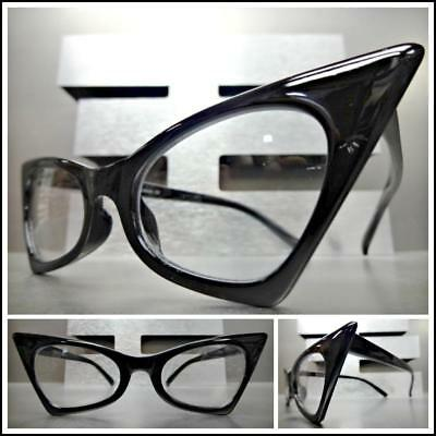 Exaggerated Retro Cat Eye Style Clear Lens EYE GLASSES Classy Pointy Black Frame