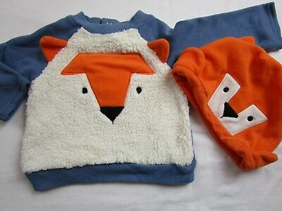Baby Boy 3-6 month Blue Orange Ivory Fox fleece shirt hat lot SMALL WONDERS Fall