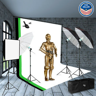 Photography Photo Video Studio Continuous Lighting Kit with Background Stand Set