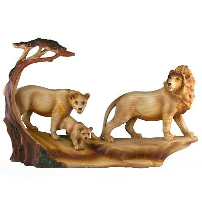 """Lion Lioness & Cub Family Carved Wood Look Figurine Resin 12"""" Long New In Box!"""