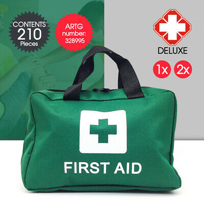 1x 2x GREEN 210pcs First Aid Kit Family Supplies Medical Workplace Travel Set