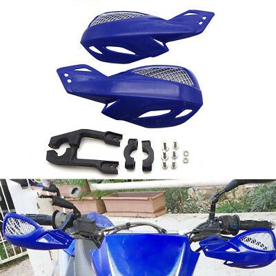 2X 22mm Handlebar Motorcycle Blue Plastic Hand Guard Protector With Mounting Kit