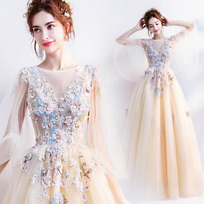 New Women Yellow Floral Formal Wedding Bridal dress Prom Party Ball Gown Evening