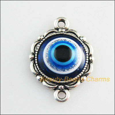 4 New Charms Round Flower Blue Eye Resin Connectors Tibetan Silver Tone 19x26mm