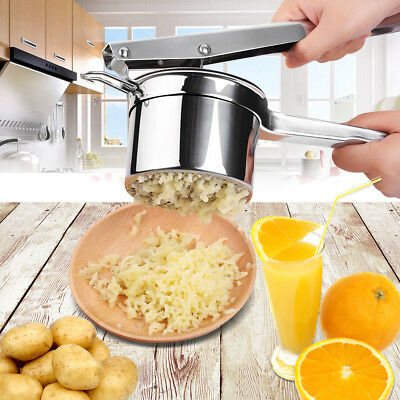 Stainless Steel Vegetable Potato Masher Ricer Fruit Juicer Press Chrome Plated