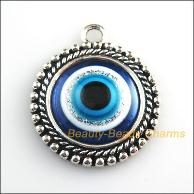 2 New Charms Round Flower Blue Eye Resin Pendants Tibetan Silver Tone 30x35mm