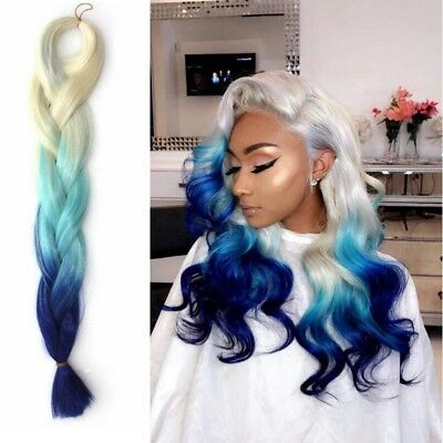 Jumbo Braiding Hair Extensions 24'' Ombre Blonde Light Blue Afro Braids 100g/pc