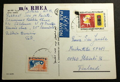 Syria 1972 post card to Finland m/s Rhea F#-103